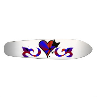 Butterfly on Rainbow Heart and Lily Skateboard Deck