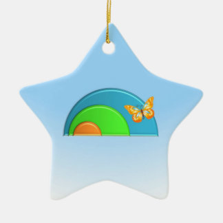 """Butterfly on Rainbow"" Star Ornament"