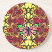 Butterfly on red and yellow pattern coaster