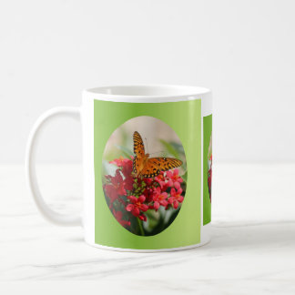 Butterfly on Red Bloom Coffee Mug
