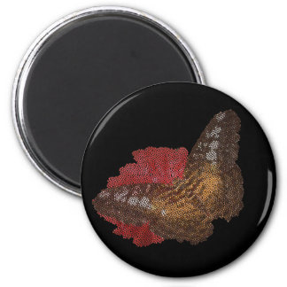 butterfly on red flower ( digital image ) 2 inch round magnet