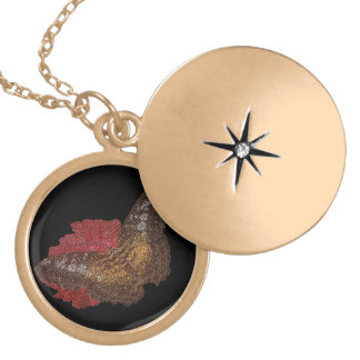 butterfly on red flower ( digital image ) gold plated necklace
