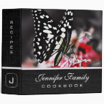 Butterfly on Red Flower Family Recipes 3 Ring Binder