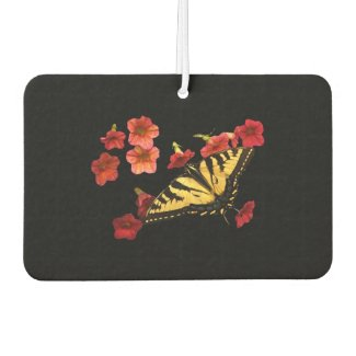 Butterfly on Red Flowers Air Freshener
