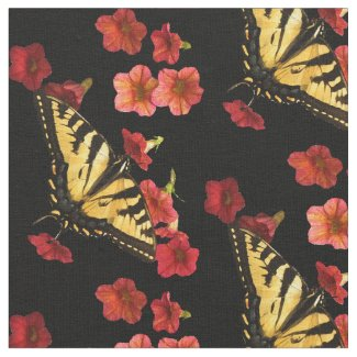 Butterfly on Red Flowers Fabric