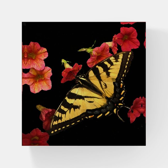 Butterfly on Red Flowers Glass Paperweight