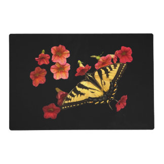 Butterfly on Red Flowers Laminated Placemat