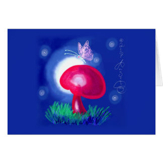 Butterfly on Red Mushroom Card