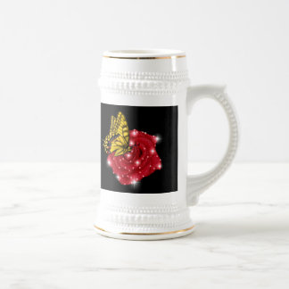Butterfly on red rose M. asterisks rain drops Beer Stein