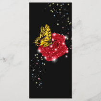 Butterfly on red rose with asterisks rain drops