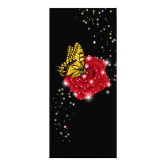 Butterfly on red rose with asterisks rain drops rack card