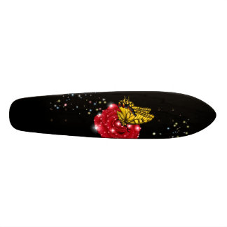 Butterfly on red rose with asterisks rain drops skateboard