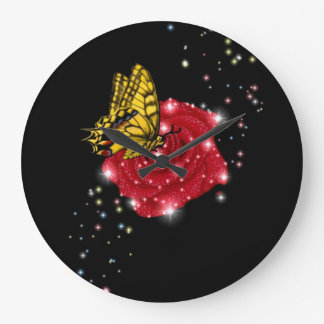 Butterfly on red rose with asterisks & raindrops large clock