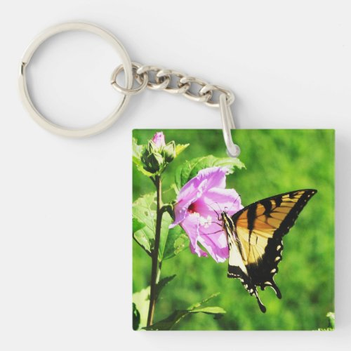 Butterfly On Rose Of Sharon Keychain