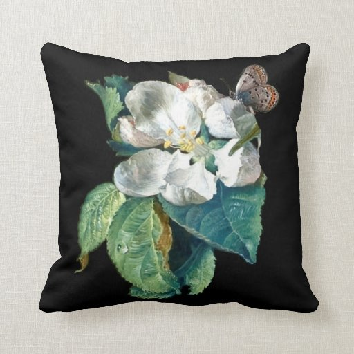 Black Flower Throw Pillow : BUTTERFLY ON THE WHITE FLOWER , BLACK FLORAL THROW PILLOW Zazzle