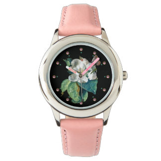 BUTTERFLY ON THE WHITE FLOWER , BLACK FLORAL WRISTWATCH