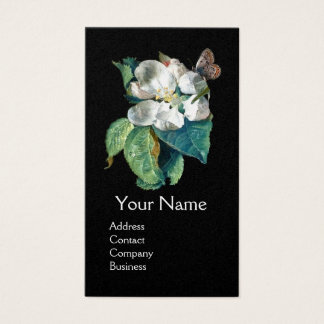 BUTTERFLY ON THE WHITE FLOWER , FLORAL MONOGRAM BUSINESS CARD