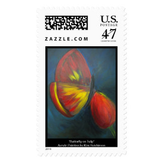 Butterfly on Tulip Stamp