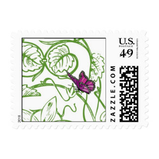 Butterfly on vine postage stamp