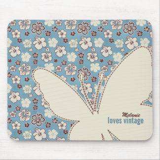 Butterfly on Vintage Floral Blue Pattern Mouse Pad