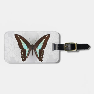 Butterfly on wallpaper background bag tag