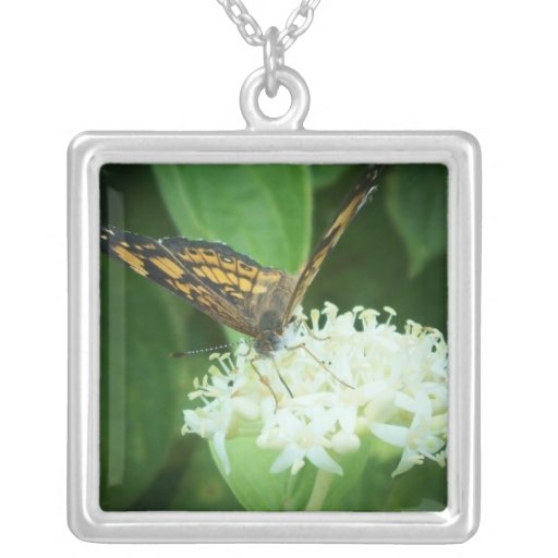 Butterfly on white flowers square pendant necklace