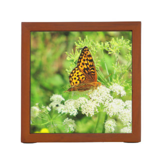 Butterfly on White Flowers Two Poses Pencil Holder
