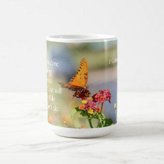 Butterfly on Wildflowers w Corinthians Bible Verse Coffee Mug