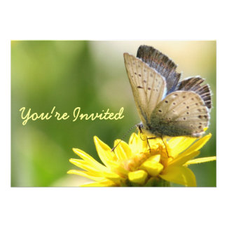 Butterfly on Yellow Flower Bridal Shower Invite