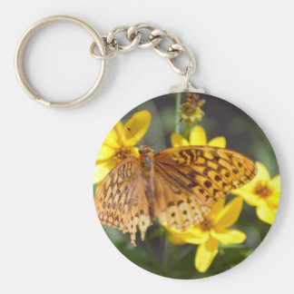 Butterfly on Yellow Flower Photo Keychain