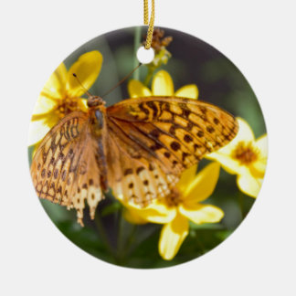Butterfly on Yellow Flower Photo Ornament
