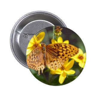 Butterfly on Yellow Flower Photo Pinback Button