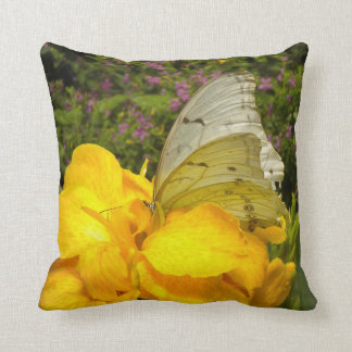 Butterfly on yellow flower throw pillow