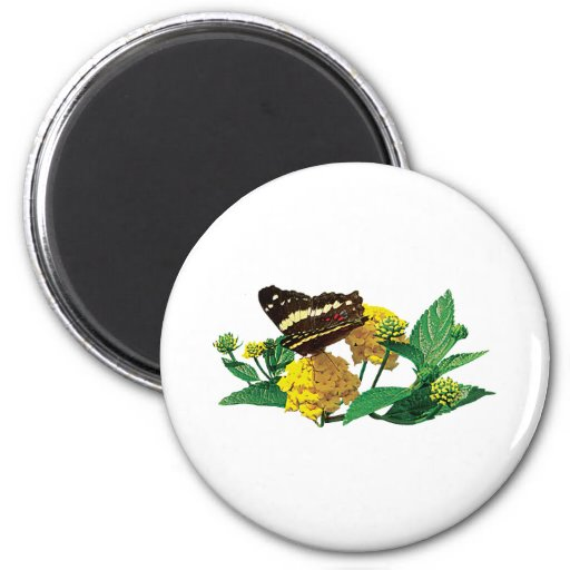 Butterfly on Yellow Lantana 2 Inch Round Magnet