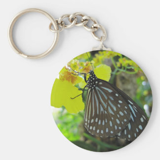 Butterfly on Yellow Orchid Keychain