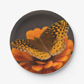 Butterfly On Zinnia Paper Plate 7 Inch Paper Plate