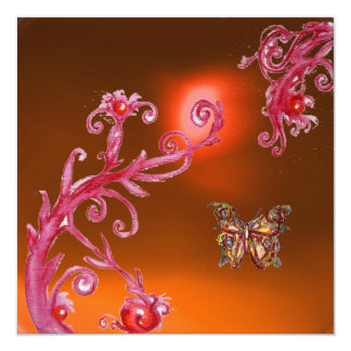 BUTTERFLY ORANGE AGATE bright pink,red yellow Card