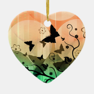 Butterfly Orange and Green Heart Ornament