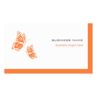 Butterfly Orange & White Elegant Modern Simple 2 Business Card