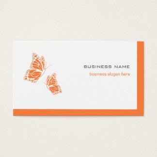 Butterfly Orange & White Elegant Modern Simple 2 Business Card