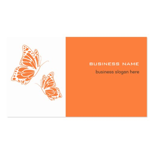 Butterfly Orange & White Elegant Modern Simple Business Cards