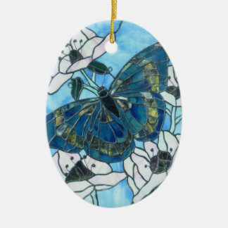 Butterfly Double-Sided Oval Ceramic Christmas Ornament