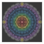 Butterfly Outline Mandala Over Rainbow 1 Poster