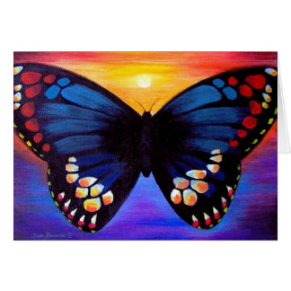 Butterfly Painting Black And Blue Art Card