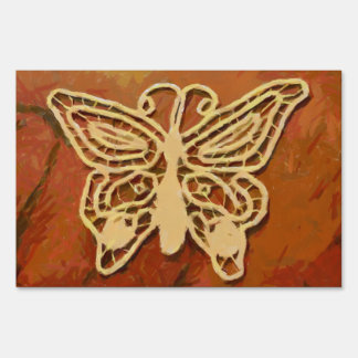 Butterfly painting lawn sign