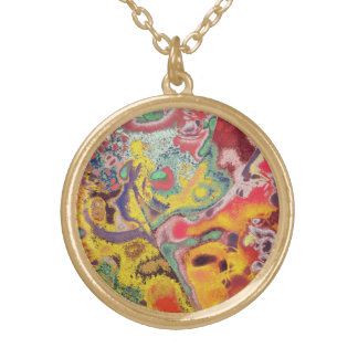 Butterfly Paisley Abstract Round Pendant Necklace