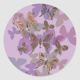 Butterfly Paisley Classic Round Sticker