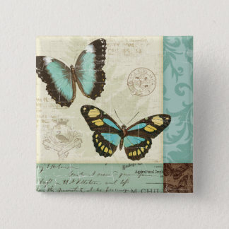 Butterfly Patchwork Button