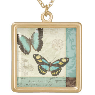 Butterfly Patchwork Square Pendant Necklace