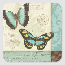 Butterfly Patchwork Square Sticker